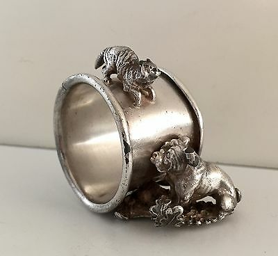 Victorian Silver Plate Figural Napkin Ring Cat & Dog