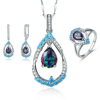Rainbow &Swiss Blue Topaz Ring+Necklace+Earring 925 Sterling Silver Jewelry Sets