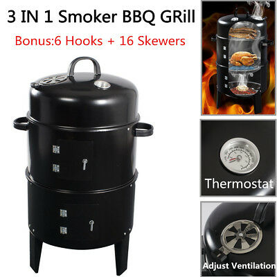 3IN1 Charcoal Smoker Portable BBQ Grill Roaster Steel Steamer Outdoor Cooking AU