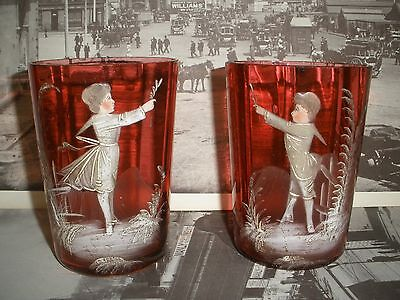 PAIR of ANTIQUE Mary Gregory CRANBERRY / Ruby GLASS TUMBLERS