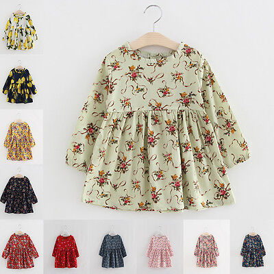Toddler Baby Girl Kid Top Dress Princess Clothes Floral Print Party Tutu Skirt