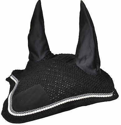 Horse Breathable Cotton Ear Bonnet/Net/Mask/Hood Crochet Fly Veil FULL/COB/PONY