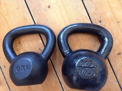A set of 2 Cast Iron Kettlebells 6kg and 8kg Top Quality