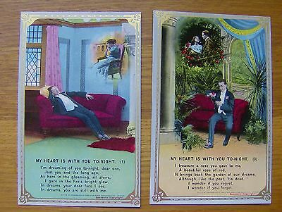Two POSTCARDS My Heart is with you To-night BAMFORTH Nos 4715/1 & 4715/3 unused