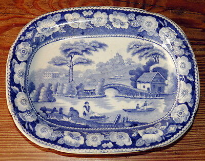 VICTORIAN English Blue & White Wild Rose MINIATURE PLATTER