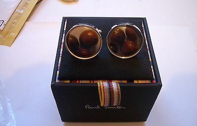 PAUL SMITH CUFFLINKS VINTAGE FOOTBALL DESIGN 22mm SILVER NEW / BOXED