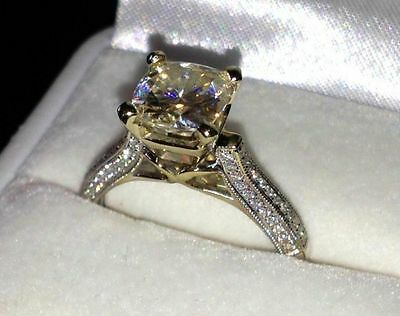 14K Solid White Gold Fn 2.45ct Round Brilliant Cut Anniversary Engagement Ring