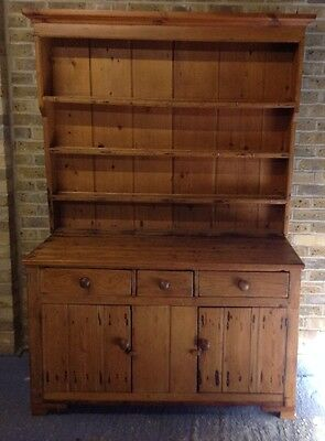 Antique Early 19th Century Solid Rustic Pine Kitchen Dresser.Delivery Available.