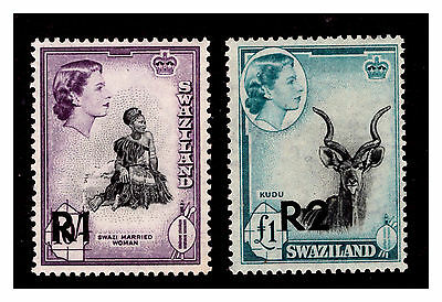 Swaziland QEII Stamps New Value. 10/- & £1-R1 & R2. 1961.  Mounted. #228