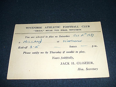 1937-38 WIVENHOE ATHLETIC v HOLLAND (Players Selection Postcard)