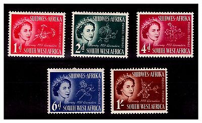 South West Africa 1953 Coronation Set Of 5 Stamps.  SG-149-53. MNH  #929