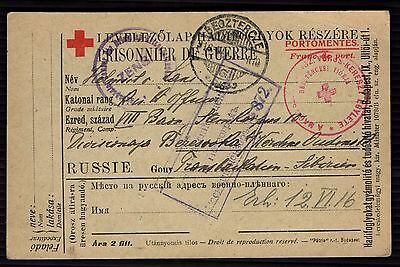 Russia Stamp WWI CARD OF PRISONERS OF WAR Postmarks EMPIRE IMPERIAL Franking