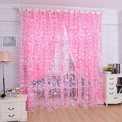 Fashion Floral Voile Door Curtain Window Room Curtain Divider Scarf Pink
