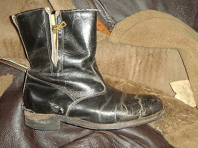 RAF Pilots WW2 short escape leather boots lightning & AM Air Ministry c dot zip