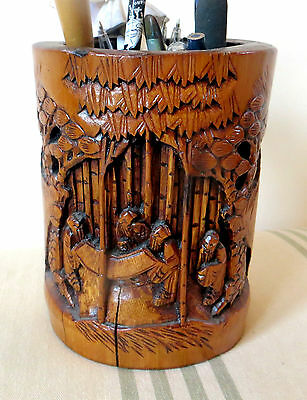 Chinese Vintage Deep Carved Bamboo Brush Pot