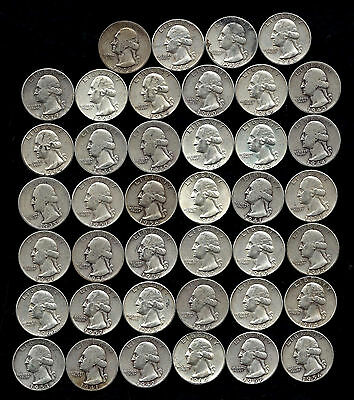 ONE ROLL OF WASHINGTON QUARTERS (1935-64)  90% Silver  (40 Coins)  LOT C46