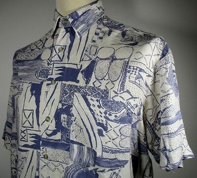 "Vintage Mens 80s Blue African Style Print Shirt MEDIUM 42""(40-42) Funky/Abstract"