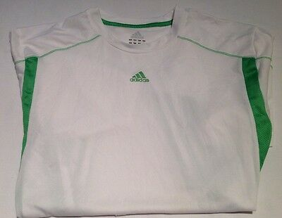 Adidas Climalite White & Green Short Sleeve Fitness Tee T-Shirt~Mens Size Med