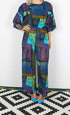 Jumpsuit UK 10-12 approx. 1980's Vintage  80's (BC-G) All in one