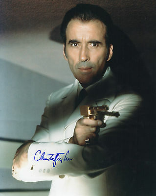 Authentic Signed Christopher Lee 10X8 Golden Gun James Bond,,real Signature.coa