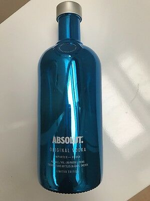 Limited Edition Absolut Vodka Bottle Metallic Electric Blue Shiny & Collectible