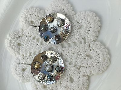 Vintage earrings sterling silver designer studded with real pearls hand made