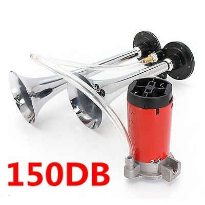 150DB 12V Air Horn Dual Trumpet Super Loud Compressor Twin Tone Boat Truck Lorry