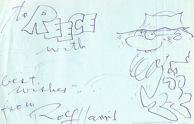 Authentic Signed Rolf Harris 12 X 8 Drawing.......real Signature....coa.