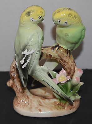 Pr. of Parakeets on a Limb Porcelain Figurine Japan Great Condition