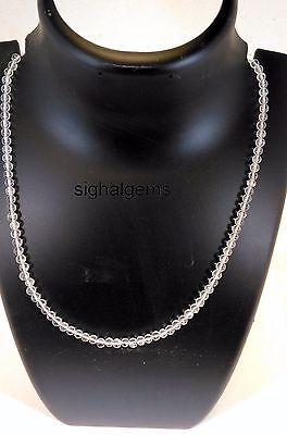 925 Sterling Silver Gemstone Rock Crysta Quartz Necklace 52Cts Natural Round