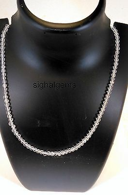 925 Sterling Silver Gemstone Rock Crysta Quartz Necklace 53Cts Natural Round