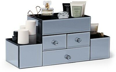 Large Smoked Grey Mirrored Dressing Table Organiser For Cosmetics And Make Up