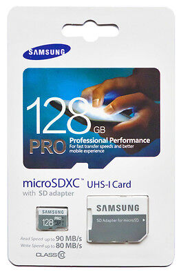 Samsung 128GB PRO MicroSDXC UHS-I Memory Card with SD Adapter