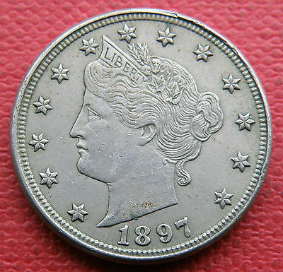 Usa 1897 5 Cents Coin. . In Nice Extremely Fine Grade.