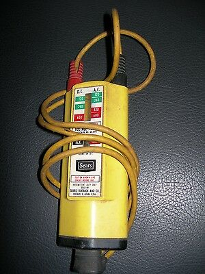 Vintage Sears AC DC Voltage Tester 120 - 600 Volt Wigger Safety Yellow Handheld