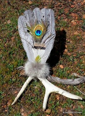 """18"""" UNIQUE Native American Antler Sacred Prayer Fan Smudging Cleansing Healing"""