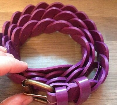 Boden Women's Purple Plaited Patent Leather Belt