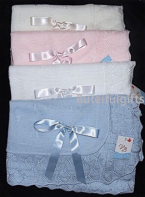 Babies Spanish Lacy Border Knitted Satin Bow Shawl/Blanket - Gift Boxed