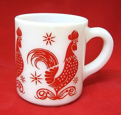 "Vintage Red Rooster Milkglass Coffee Mug 1950s Bright Color 3 1/2"" Kitchen Glass"