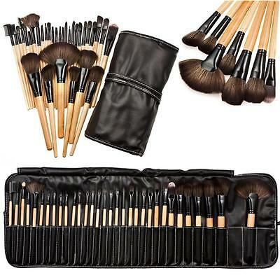 Pro 32pcs Soft Cosmetic Foundation Eyebrow Shadow Makeup Brush Set +Pouch Bag A
