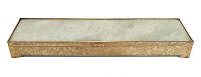 Fine Vintage Elongated Chinese Brass Box W/ Hinged Stone Lid & Copper Feet China