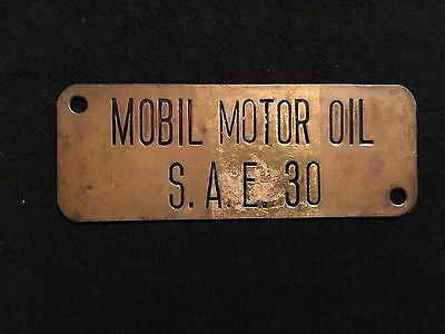 """Vintage Mobil Motor Oil S.A.E. """"30"""" Brass Plate Sign Plaque"""