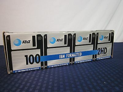 AT&T 100pk. IBM Formatted Floppy Discs. 2HD. DS/HD. NEW