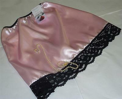 Shiny Satin And Lace Half Waist Slip Pink & Black Peticoat Choose Length & Size