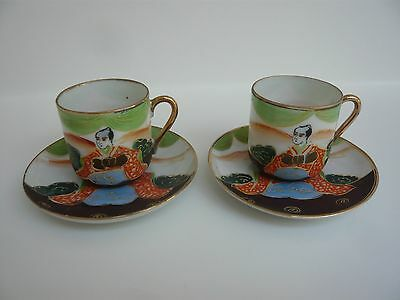 Pair Vintage Japanese Hand-painted Porcelain Cups & Saucers