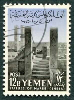 YEMEN 1961 12b black and violet-blue SG146 used FG Statues of Marib #W9
