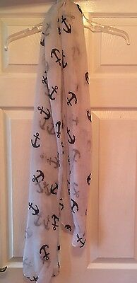 Anchor White Long, Thick Sheer Scarf, Shawl. Rockabilly, Vintage Look