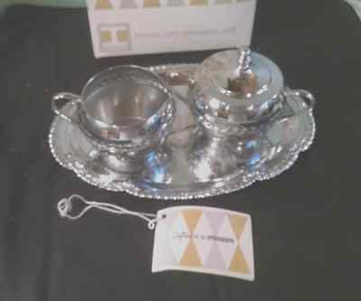 Vintage Irvinware Chrome Cream And Sugar With Lid Includes Tray Made In U.s.a.