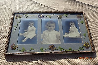 Adorable Vintage  3 picture frame 1920's - 30's hand painted pansy flowers