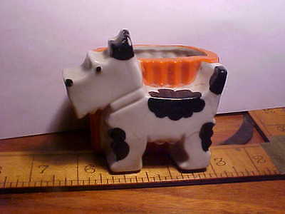Antique pottery scotty dog planter made in japan